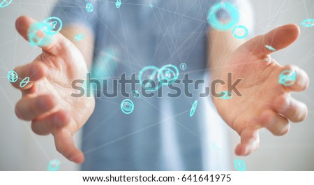 Businessman on blurred background using flying network connection interface