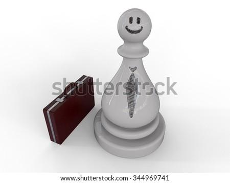 Businessman on Chess Piece - stock photo