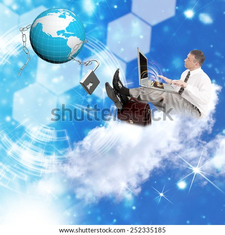 Businessman on clouds with notebook and globe planet with chain metal with lock