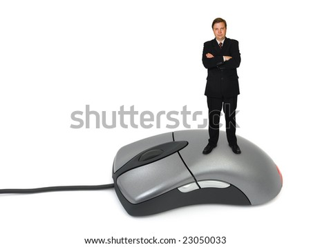 Businessman on computer mouse isolated on white background - stock photo