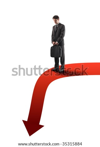 businessman on descending arrow