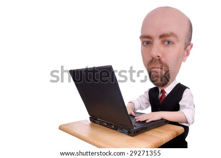 Businessman on laptop isolated over a white background - stock photo