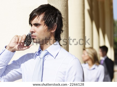 businessman on mobile phone - stock photo