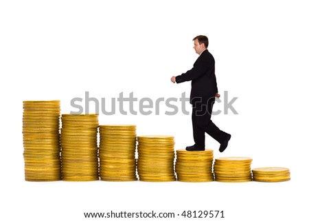 Businessman on money staircase isolated on white background - stock photo