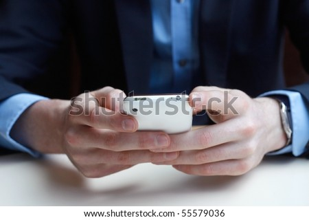 Businessman on phone - stock photo