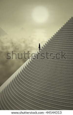 businessman on stairs - stock photo