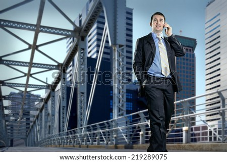 Businessman on the bridge speaking by phone - stock photo