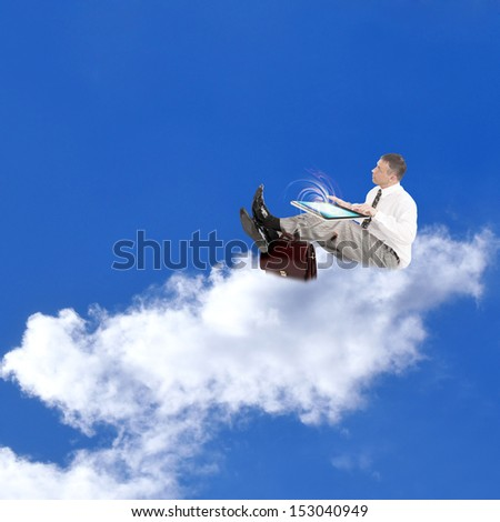 Businessman on the clouds.Internet