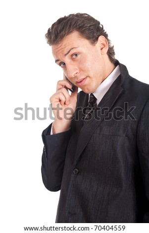 Businessman on the phone isolated on white - stock photo