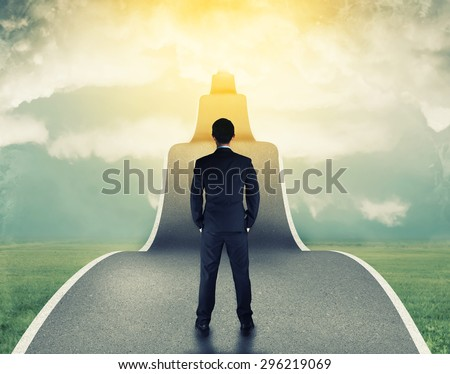 businessman on the road to success in business - stock photo