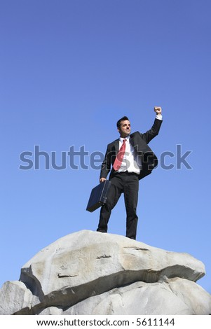 Businessman on top of rock celebrating - stock photo