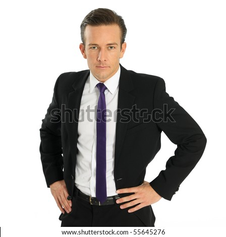 businessman on white background standing in front of camera