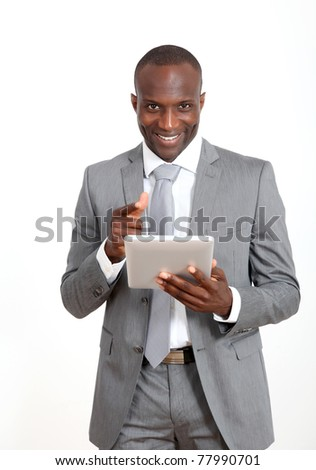 Businessman on white background using electronic tablet - stock photo