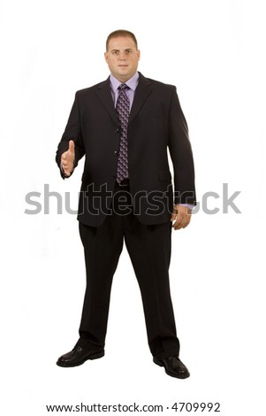Businessman on white holding hand out for handshake