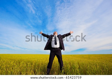 businessman on yellow field under blue skies - stock photo