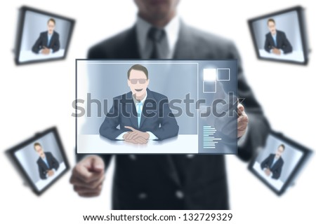 businessman online to his partnership on video conference. - stock photo