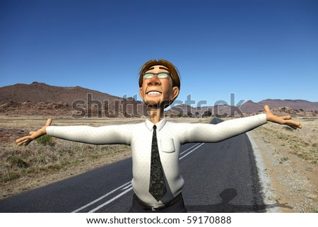 businessman open road - stock photo