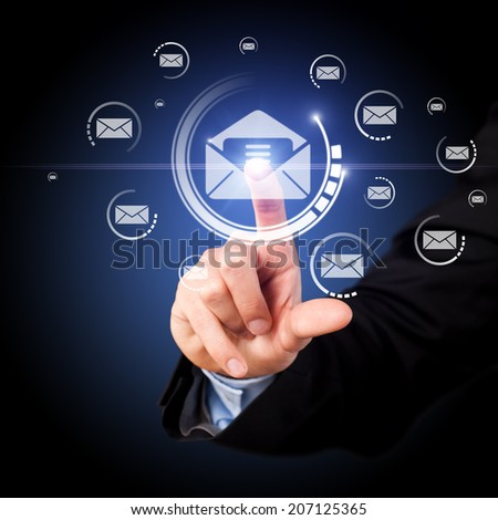 businessman opening a mail  - stock photo