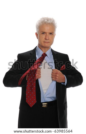 Businessman opening his shirt as a metaphor for power isolated on white - stock photo
