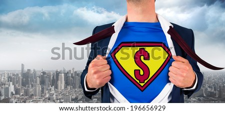 Businessman opening shirt in superhero style against balcony overlooking city - stock photo