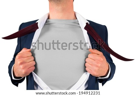 Businessman opening shirt in superhero style on white background - stock photo