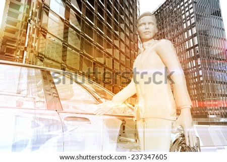 Businessman opening the door of a car in the city - stock photo