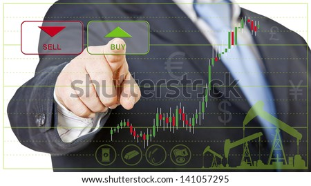 businessman opens a long position by clicking on buy - stock photo