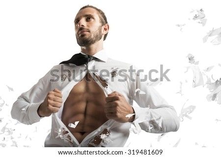 Businessman opens shirt as a muscular superhero - stock photo