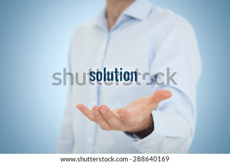 Businessman or consultant give you a business solution. - stock photo