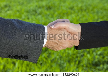 Businessman or man shaking hands with a businesswoman or woman caucasian female in a green field - stock photo