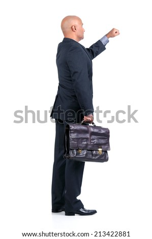 Businessman or salesman with briefcase knocking isolated in white - stock photo
