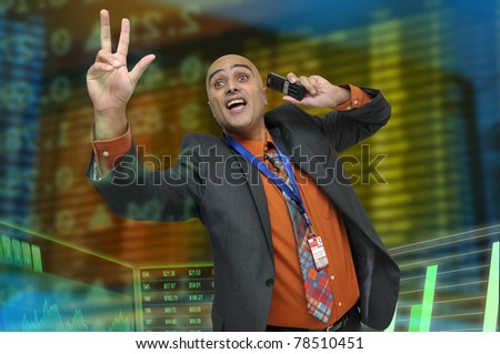 Businessman or stock broker with cellphone - stock photo
