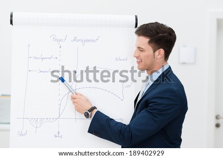 Businessman or team leader giving a presentation pointing to a hand-drawn diagram and chart on a flipchart during a meeting or training session - stock photo