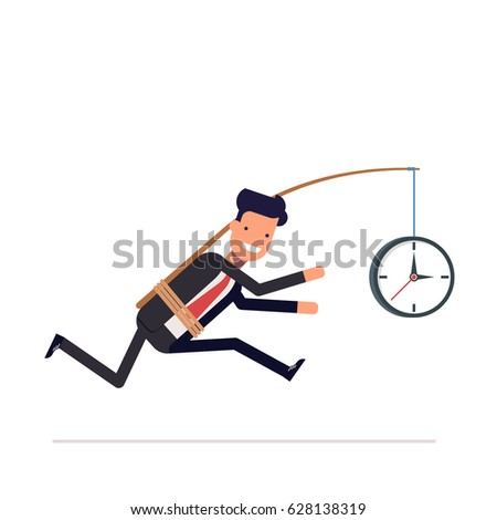 Businessman or tied clock manager runs the time. Stupid, inconsiderate man in a business suit does not notice his mistake. , illustration .