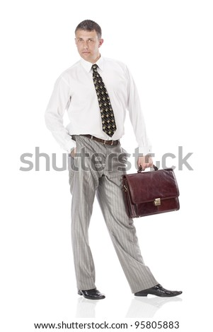 Businessman over white background
