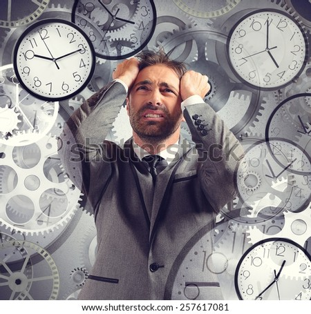 Businessman overload appointments and with little time - stock photo