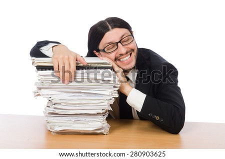 Businessman overwhelmed and stressed from paperwork - stock photo