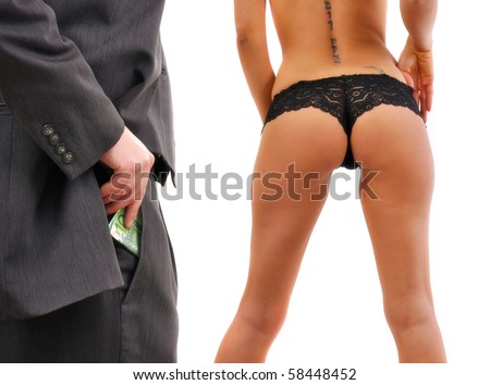 Businessman paying the prostitute woman for sex in euro banknotes.