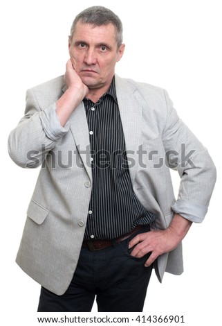 businessman pensive expression isolated on white background - stock photo
