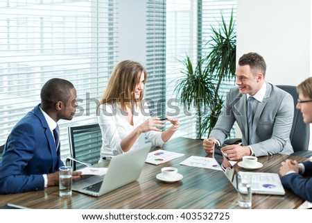 Businessman people in office - stock photo