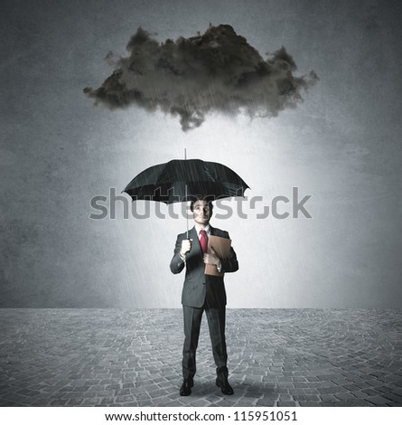 Businessman pessimist in the business - stock photo