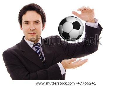 Businessman play with soccer ball isolated in white