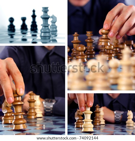 Businessman playing chess - collage - stock photo