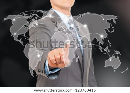 Businessman point finger world map touching on digital connection background futuristic communication interface - stock photo