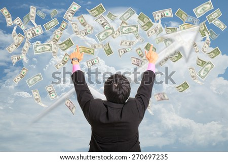 Businessman point the target successful his business money income. - stock photo