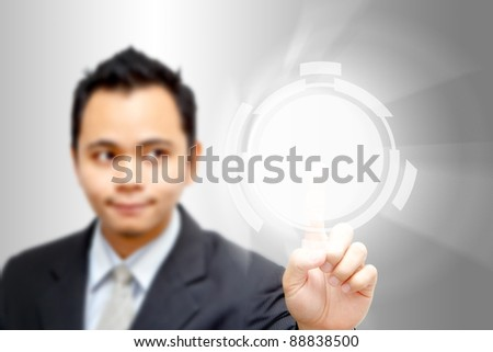 Businessman point to Power button