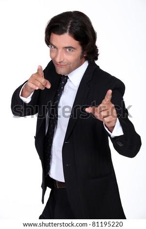 Businessman pointing - stock photo