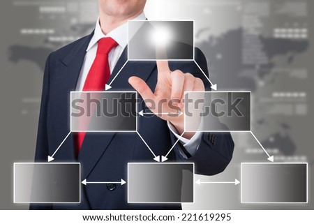 businessman pointing an empty organization chart - stock photo