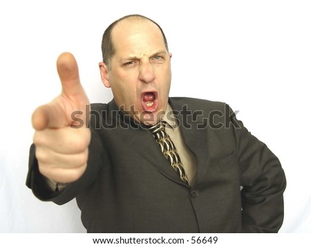 Businessman pointing and shouting isolated on white background