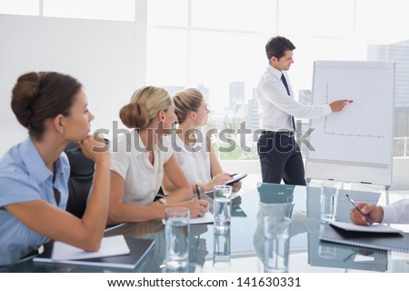 Businessman pointing at a growing chart during a meeting - stock photo